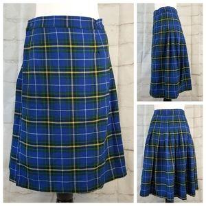 Vintage L Blue Yellow Tartan Plaid Midi Wrap Skirt